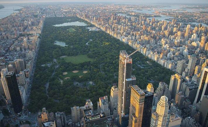 Фотография центрального парка с высоты птичьего полета