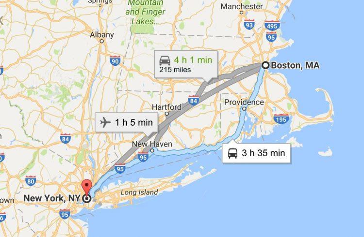 Расстояние от Нью-Йорка до Бостона