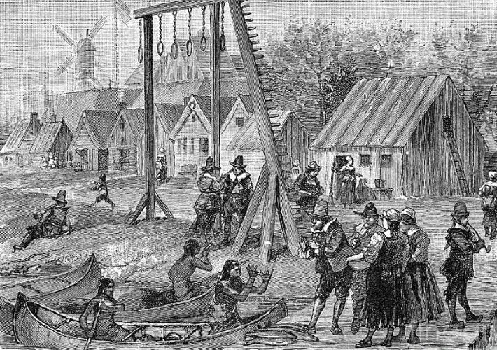 Голландцы покупают товары у индейцев в Нью-Йорке