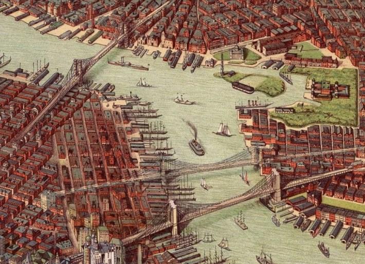 Фотография мостов Нью-Йорка 100 лет назад