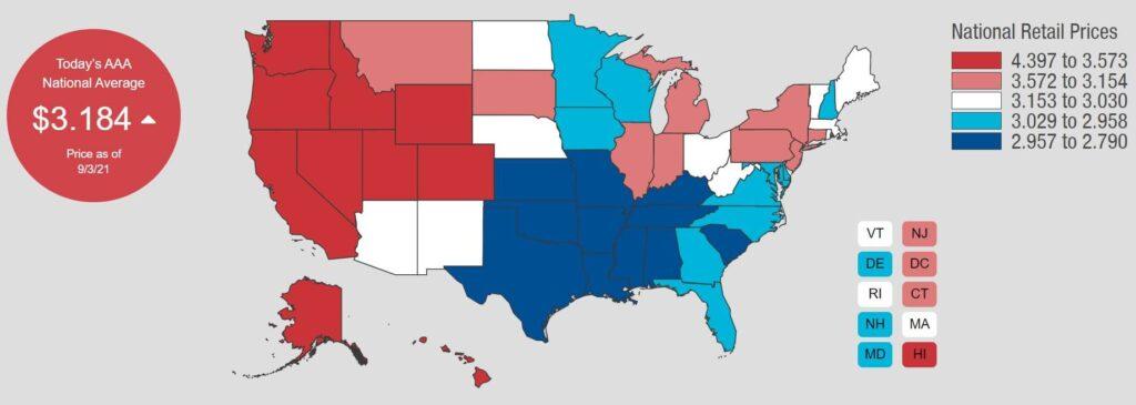 Где в США самый дешевый и самый дорогой бензин